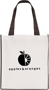 Printed shopper bag with coloured trims Black
