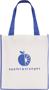 Printed shopper bag with coloured trims Blue