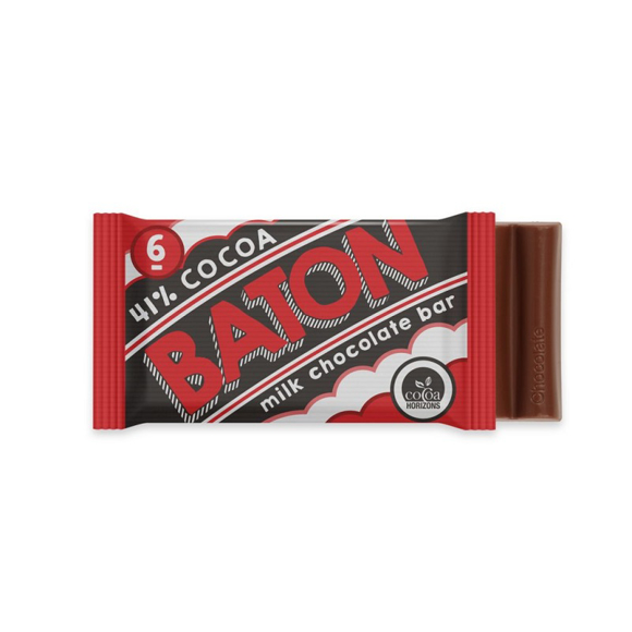 a 6 baton milk chocolate bare with a red full colour wrapper