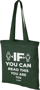 Forest Green reusable shopper bag with blue handles and large print to the front