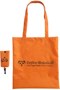 Orange long handled foldable shopping bag with storage pouch, both branded with a company logo.