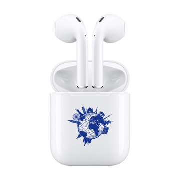 bluetooth earphone with blue amt marketing logo