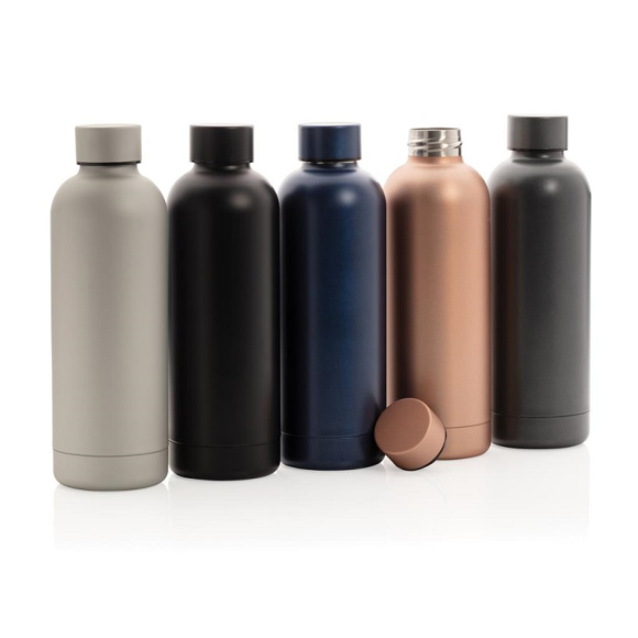 a group of 5 metal bottle in different colours