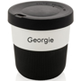 Individually Personalised Coffee Cup in black and white with printed name