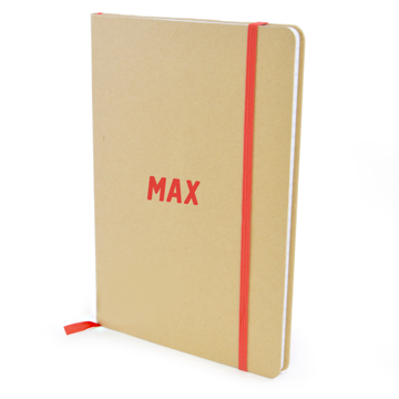 A5 Natural Notebook with red details and name printed