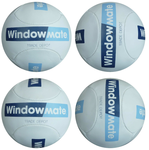 Size 5 football 6 panels in white with blue print