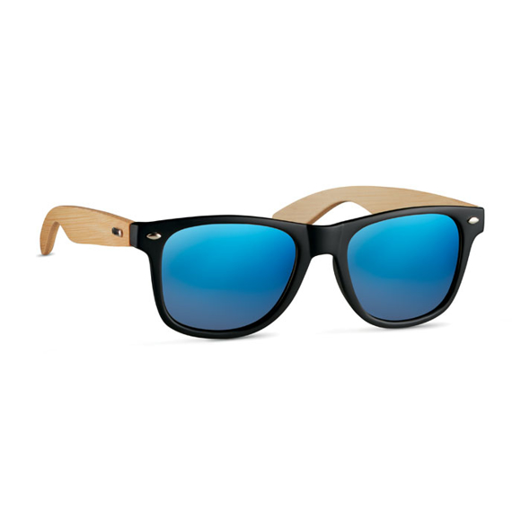 blue tinted mirror lens sunglasses with bamboo arms