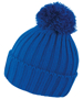 HDI quest knitted hat in blue with colour match bobble