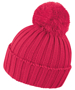 HDI quest knitted hat in pink with colour match bobble