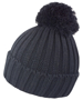 HDI quest knitted hat in black with colour match bobble
