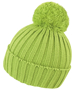 HDI quest knitted hat in lime green with colour match bobble
