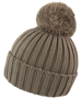 HDI quest knitted hat in brown with colour match bobble