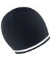 Solid black knitted beanie with contrasting white stripe around the rim