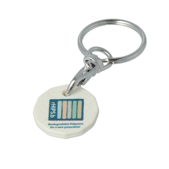 promotional printed trolley coin keyring