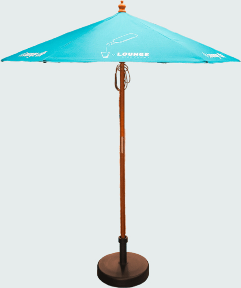open wooden parasol with blue canopy