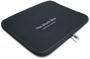 Black zip-up laptop case with print