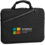 Black laptop carry case with branding