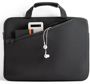 Black laptop carry case.  Image with gadgets in pocket